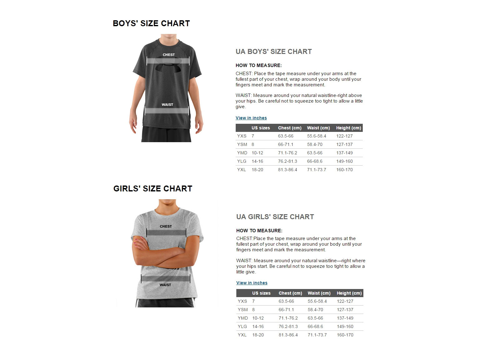 under armour size guides boys and girls